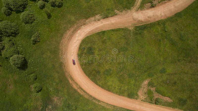 The car rally is a top view. royalty free stock photography