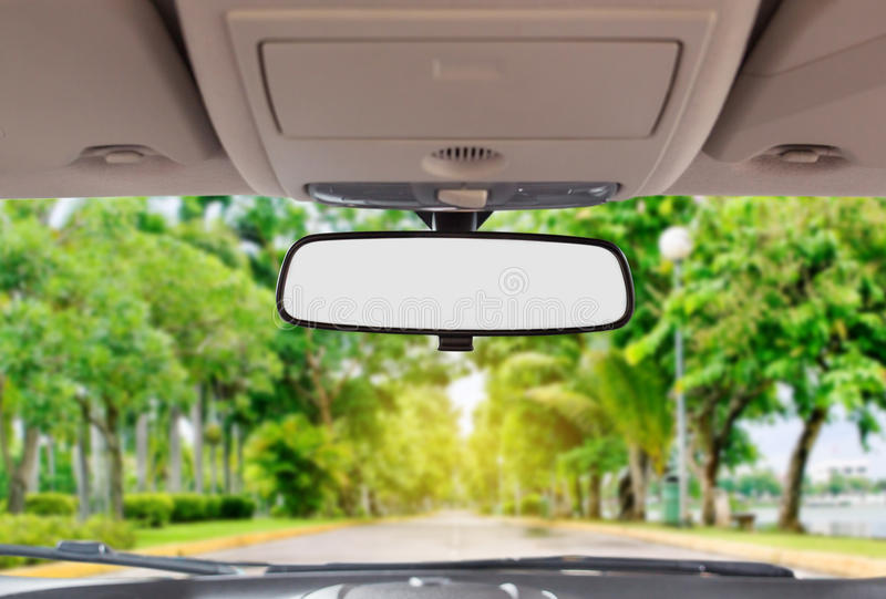 Car rear view mirror. Inside the car royalty free stock photos