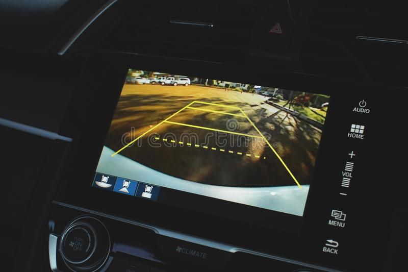 Car rear view system monitor reverse video camera stock photography