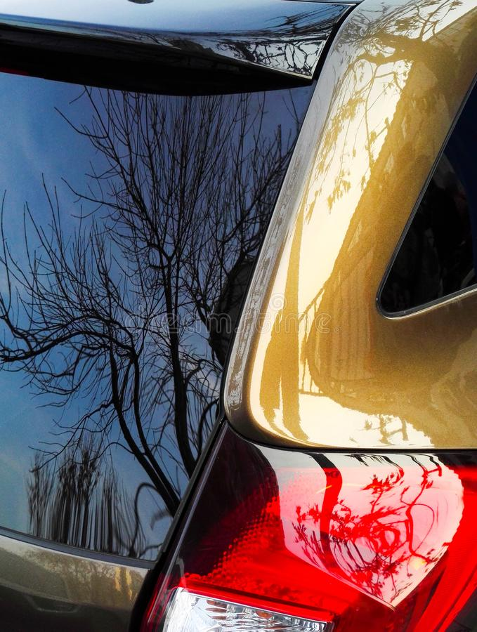 Car rear windshield glass and tail lights stock photo