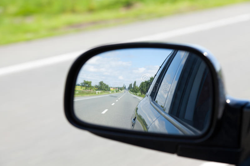 Car rearview mirror. Photo shot of car rearview mirror royalty free stock images