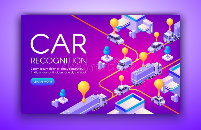 Car recognition technology vector illustration. Car recognition vector illustration of vehicle registration plates and speed detection ANPR technology. Location stock illustration