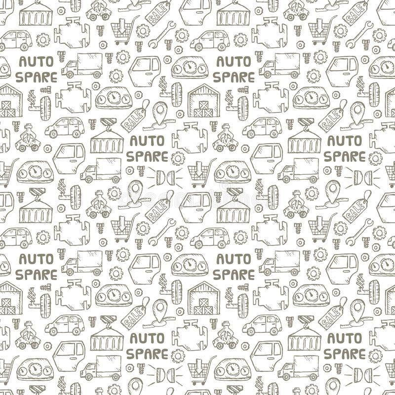 Car recyclers and scarp breaker and auto spare parts icons in hand drawn style background and seamless pattern. Car recyclers and scarp breaker and auto spare stock illustration