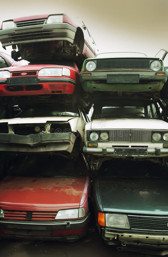 Car recycling royalty free stock photo