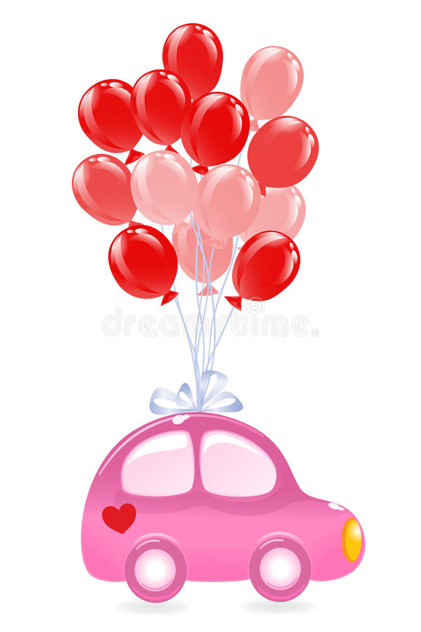 Download The Car With Red Balloons Royalty Free Stock Photos - Image: 23214018