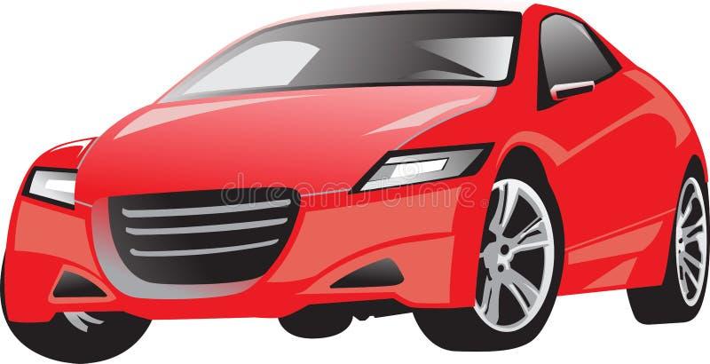 Car2_red_full_street_vector royaltyfri foto