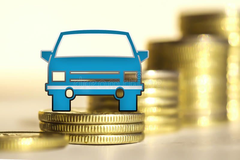 Car and red percent sign on a background of money . The concept of change of car prices stock photography