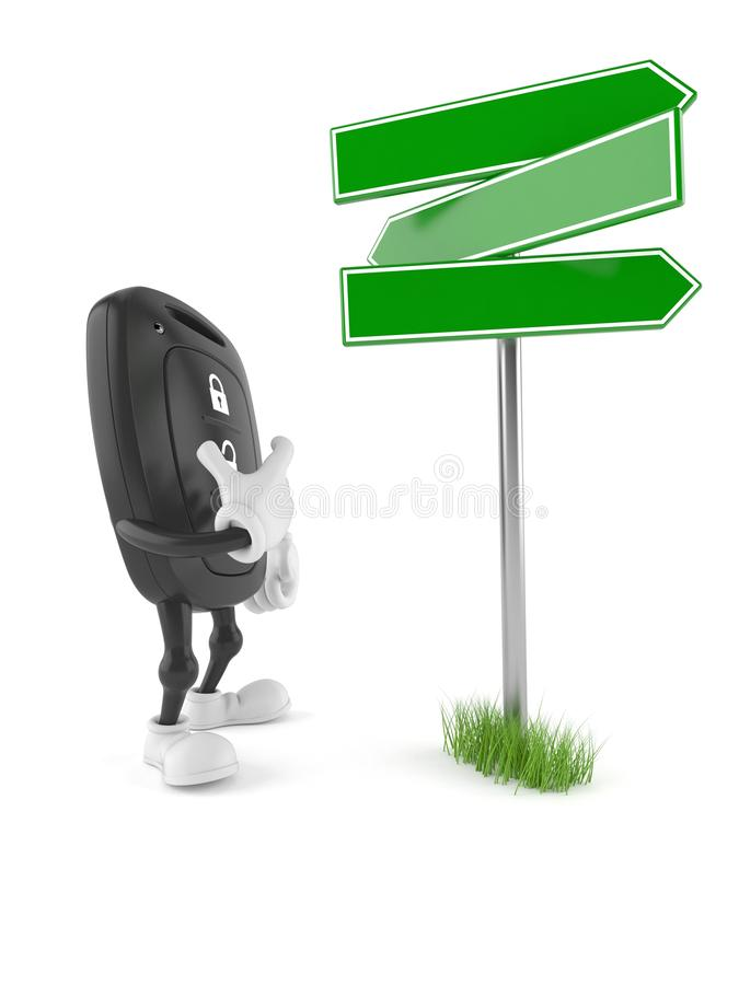 Car remote key character with blank signpost. Isolated on white background. 3d illustration stock illustration
