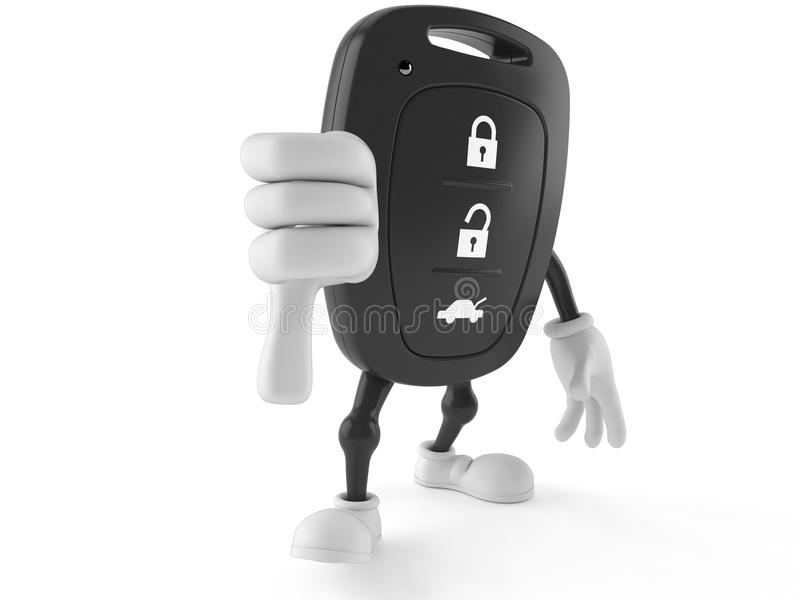 Car remote key character with thumbs down gesture stock illustration