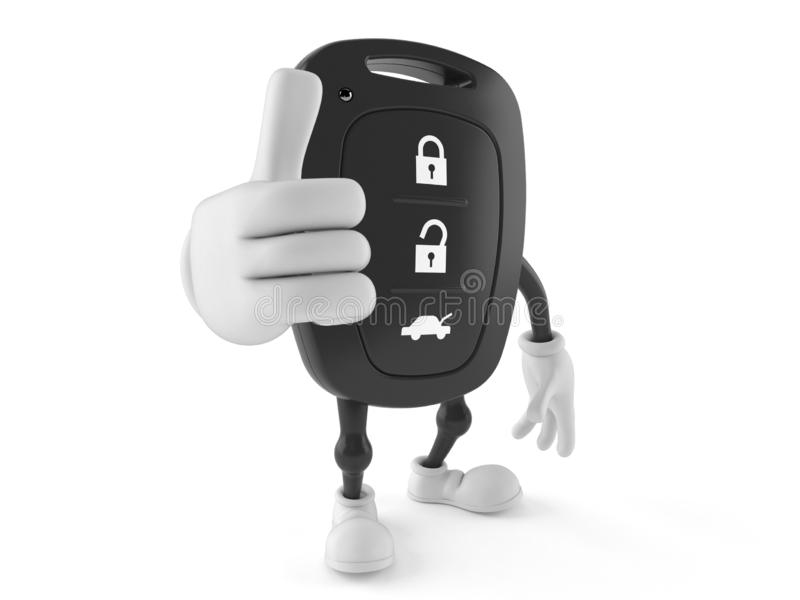 Car remote key character with thumbs up stock illustration