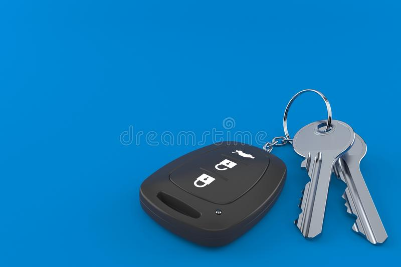 Car remote key with door keys. Isolated on blue background. 3d illustration royalty free illustration