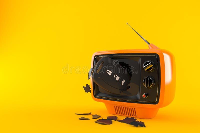 Car remote key inside tv set. Isolated on orange background. 3d illustration vector illustration