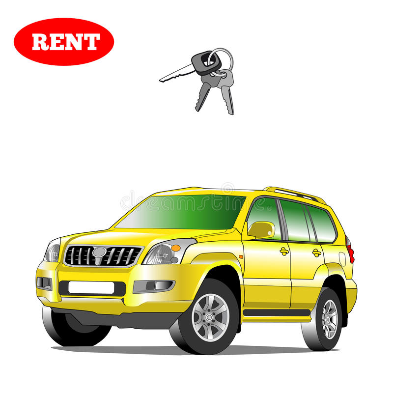 Car for rent with car key. Illustration isolated. royalty free stock image
