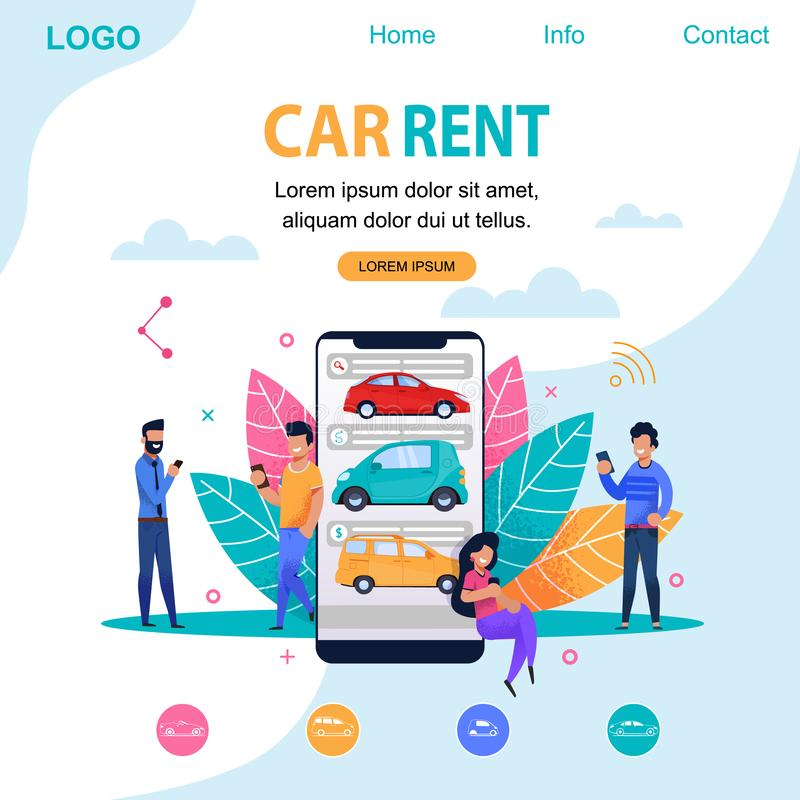 Car Rent Landing Page. Flat Person Illustration. Car Rent Landing Page. Flat Illustration Man Person Character. Smartphone Application for Rental Service stock illustration