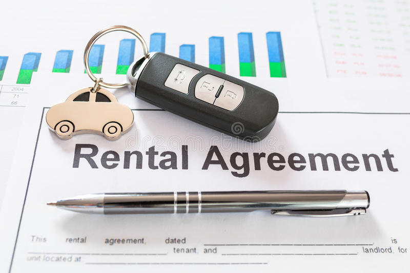 Car rental agreement contract. Signing car rental agreement contract stock photography