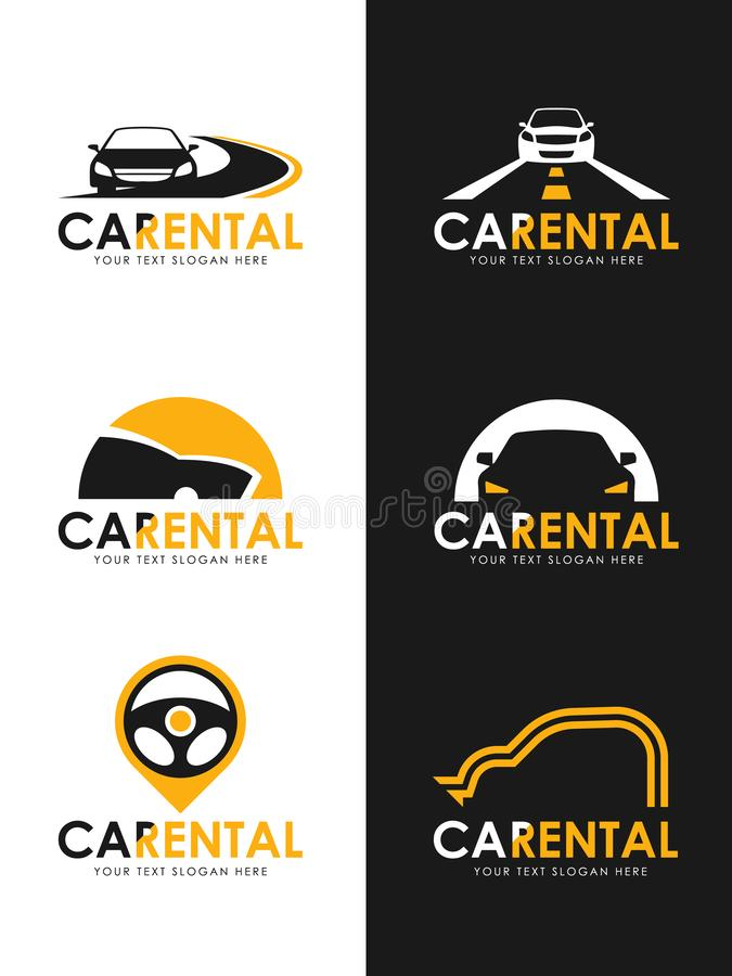 Car Rental logo sign whit black and yellow car , road and steering wheel sign vector set design royalty free illustration