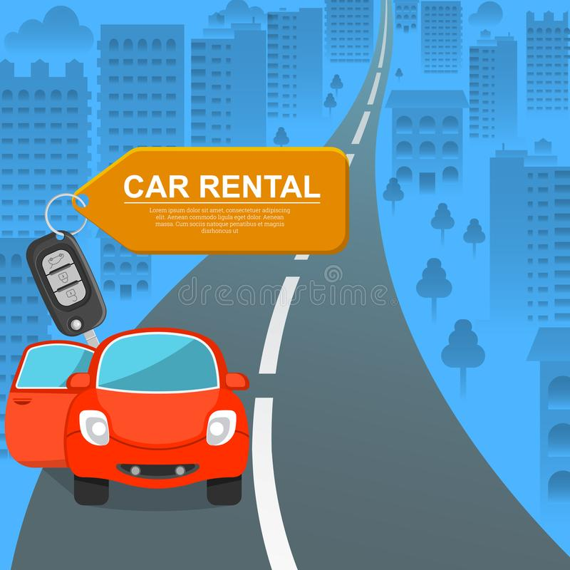 Car rental. Lovely to a car against the background of the city. The invitation to a trip. Favorable offer. Colourful banner. A vector illustration in flat stock illustration