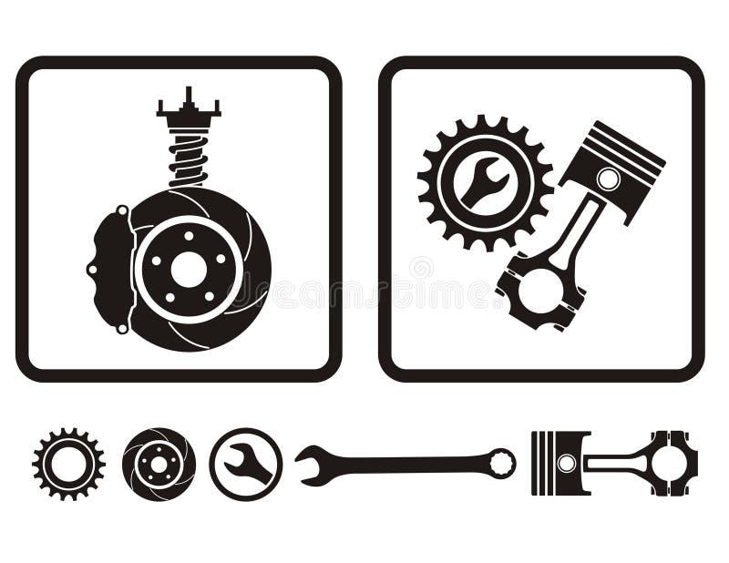 Car repair. Car absorber, brake, engine repair icons
