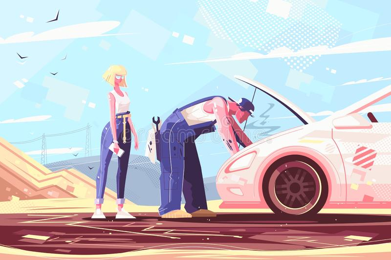 Car repair assistance. Vector illustration. Mechanic fixing broken vehicle outdoors. man helping lady improving troubled automobile flat style concept. Deserted royalty free illustration
