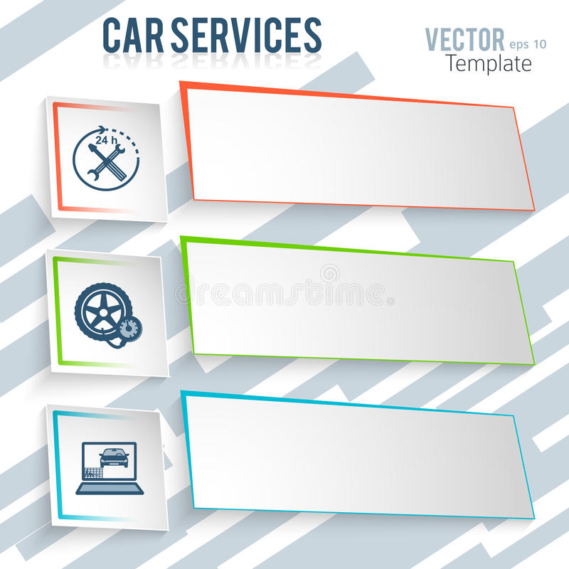 Car repair. Auto service and car repair background with icons design elements on gray oblique stripes background. Modern business presentation template stock illustration