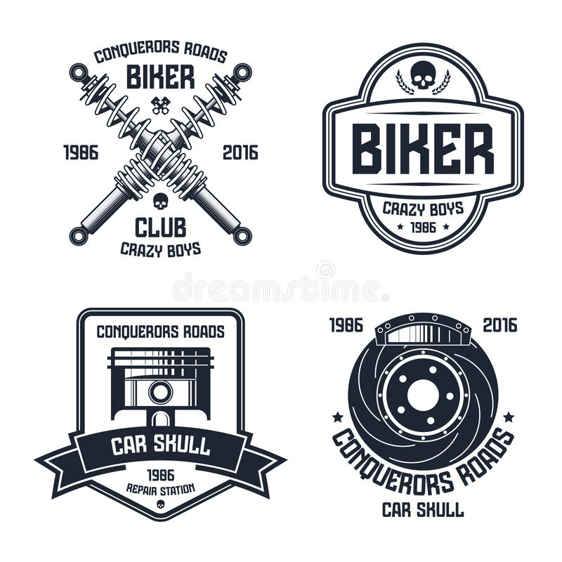 Car repair and biker club emblems stock illustration
