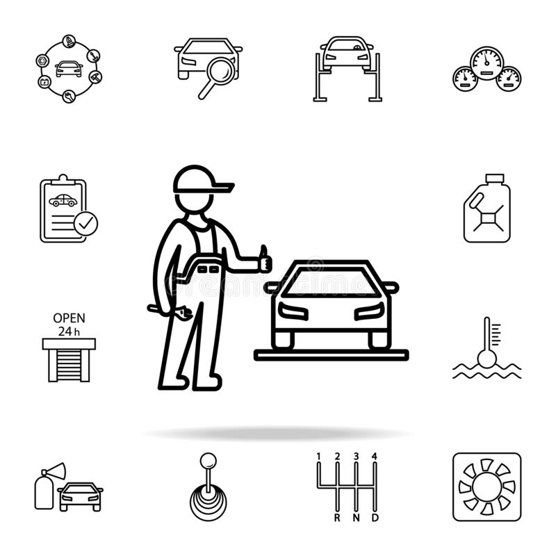 Car repair is completed icon. Cars service and repair parts icons universal set for web and mobile. On colored background vector illustration