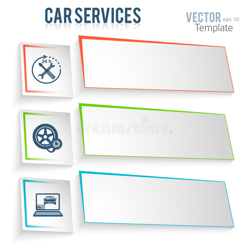 Car-repair-service-car-ads-template. Auto service and car repair template with icons design elements on white background. Modern business presentation template stock illustration