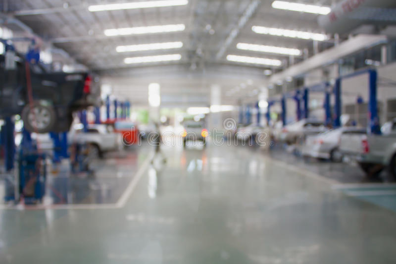 Car repair service center. Blurred background stock photography