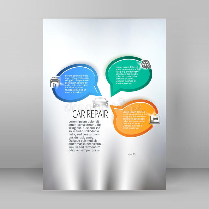Car Repair Service Flyer A4 Brochure Layout Stock Illustration ...