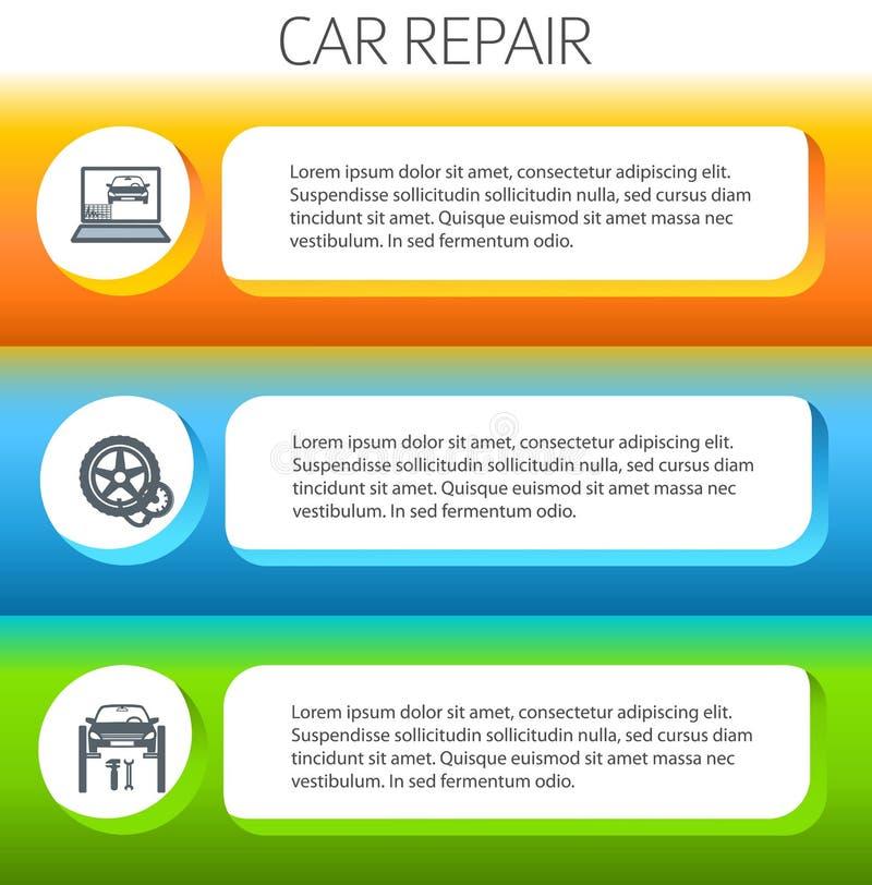 Car-repair-service-horizontal-banner-set vector illustration
