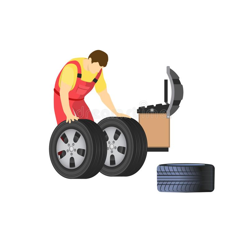 Tyre and Spanner Mechanic stock vector. Illustration of ...