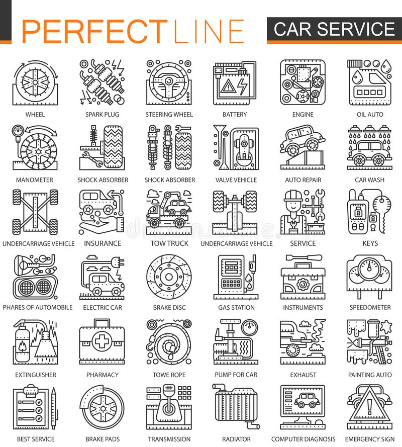 Car repair service outline mini concept symbols. Modern stroke linear style illustrations set. Perfect thin line icons. Car repair service outline mini concept royalty free illustration