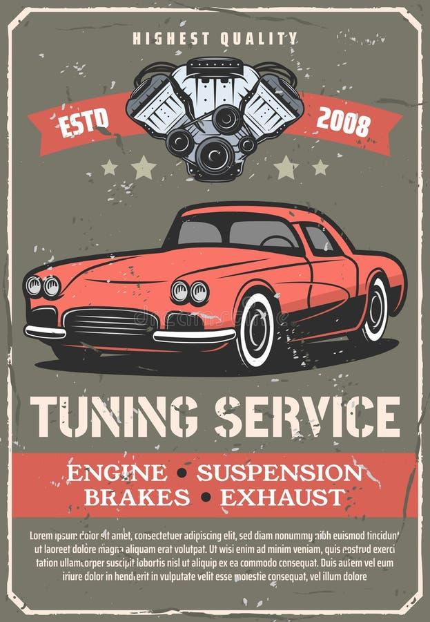 Car repair service, retro vehicle tuning vector illustration
