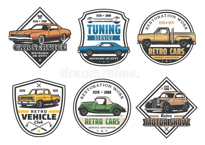 Car repair service and vehicle tuning retro icons vector illustration