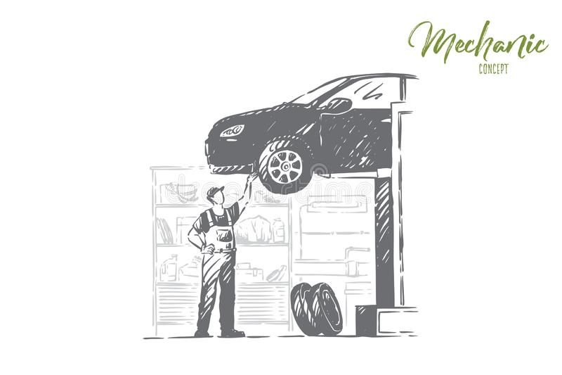 Car repair shop, vehicle workshop, young mechanic in overalls, faceless repairman, handyman fixing auto. Professional automobile maintenance service concept royalty free illustration