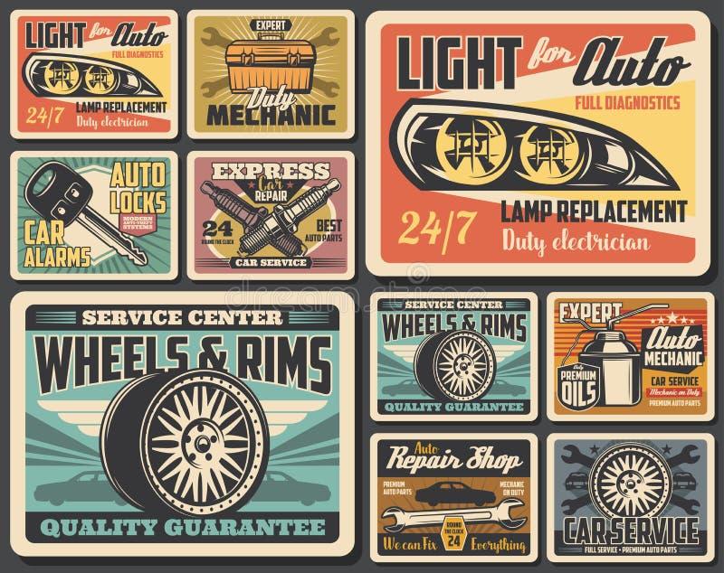 Car repair spare parts, auto wheel tire, motor oil vector illustration