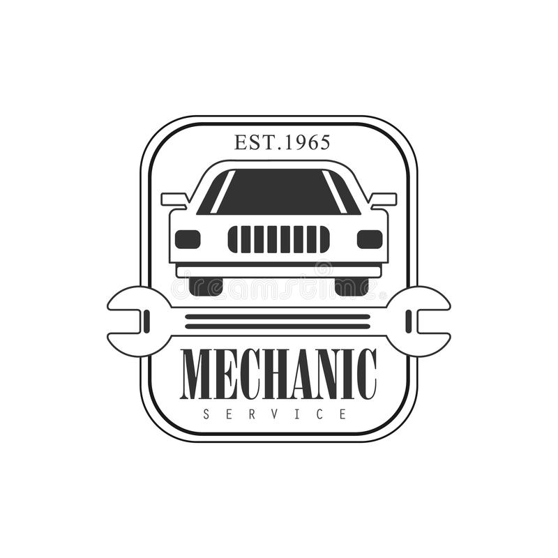 Car Repair Workshop Black And White Label Design Template With ...
