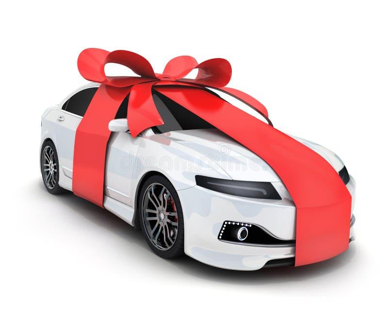 Car and ribbon gift vector illustration