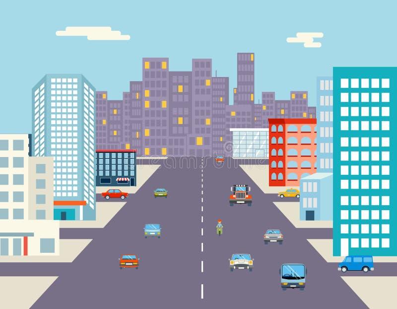 Car ride driving city street background flat stock illustration