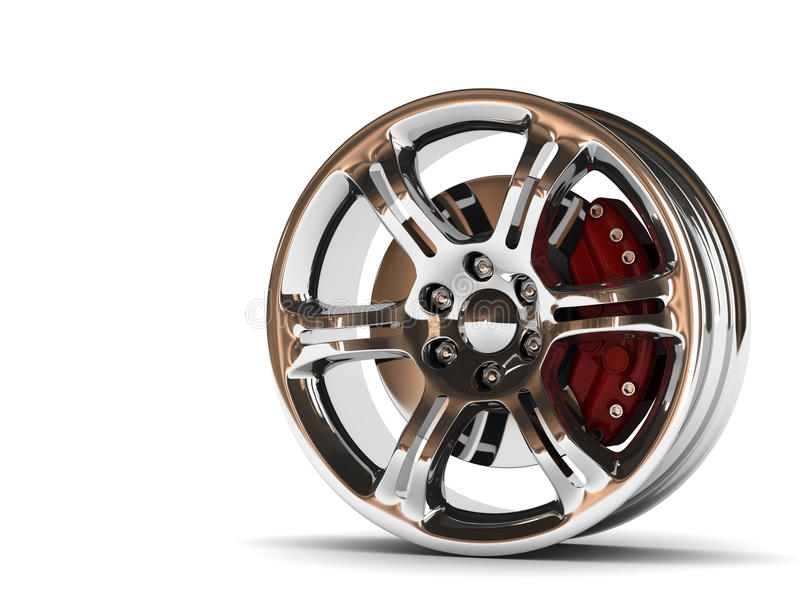 Aluminum Wheel Image 3D High Quality Rendering. White Picture Figured Alloy Rim For Car, Tracks. Best Used For Motor Show Promotio Royalty Free Stock Photos