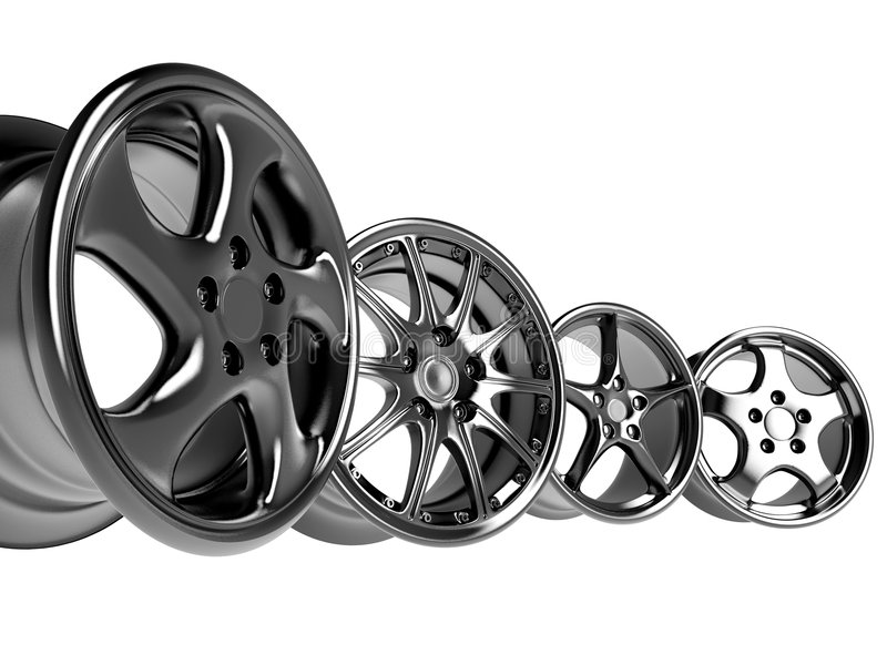 Car rims. Steel alloy car rims over the white background stock illustration