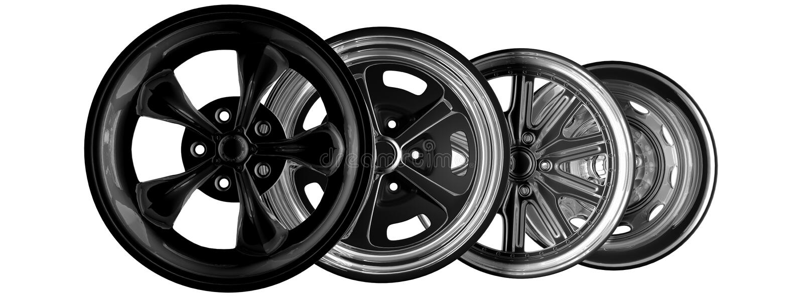 Car rims. Steel alloy car rims over the white background royalty free illustration