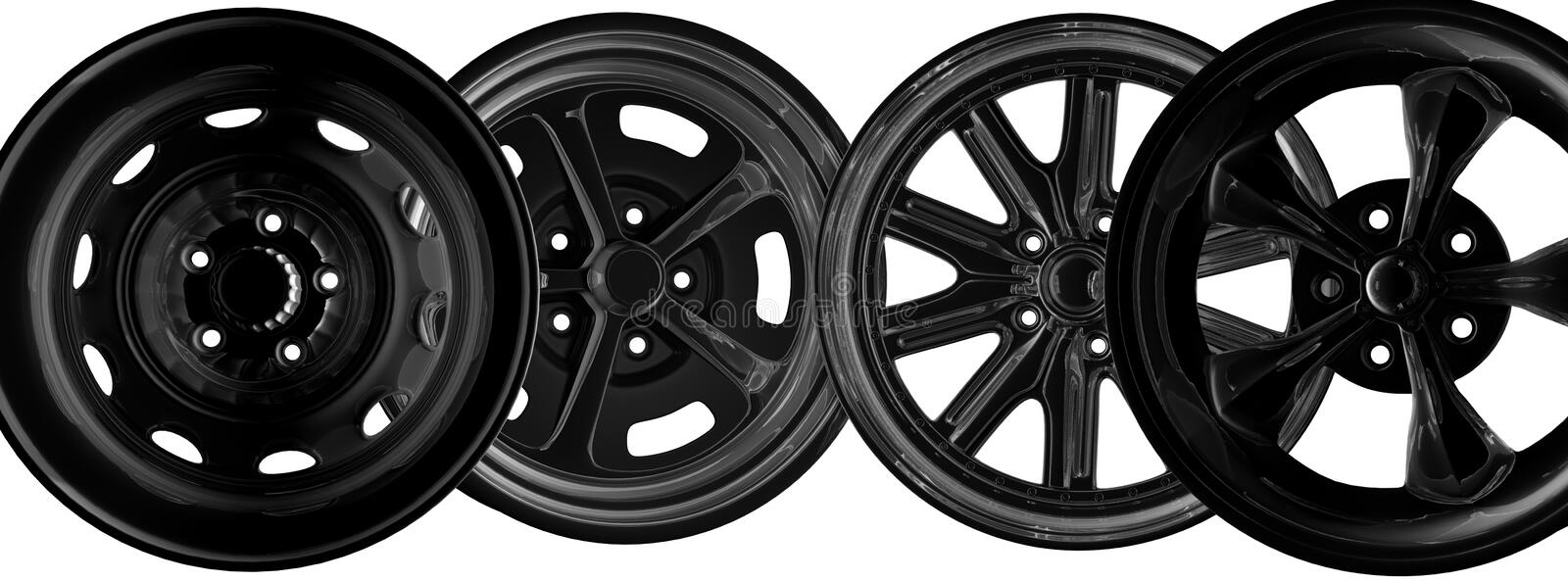 Car rims. Steel car rims over the white background vector illustration