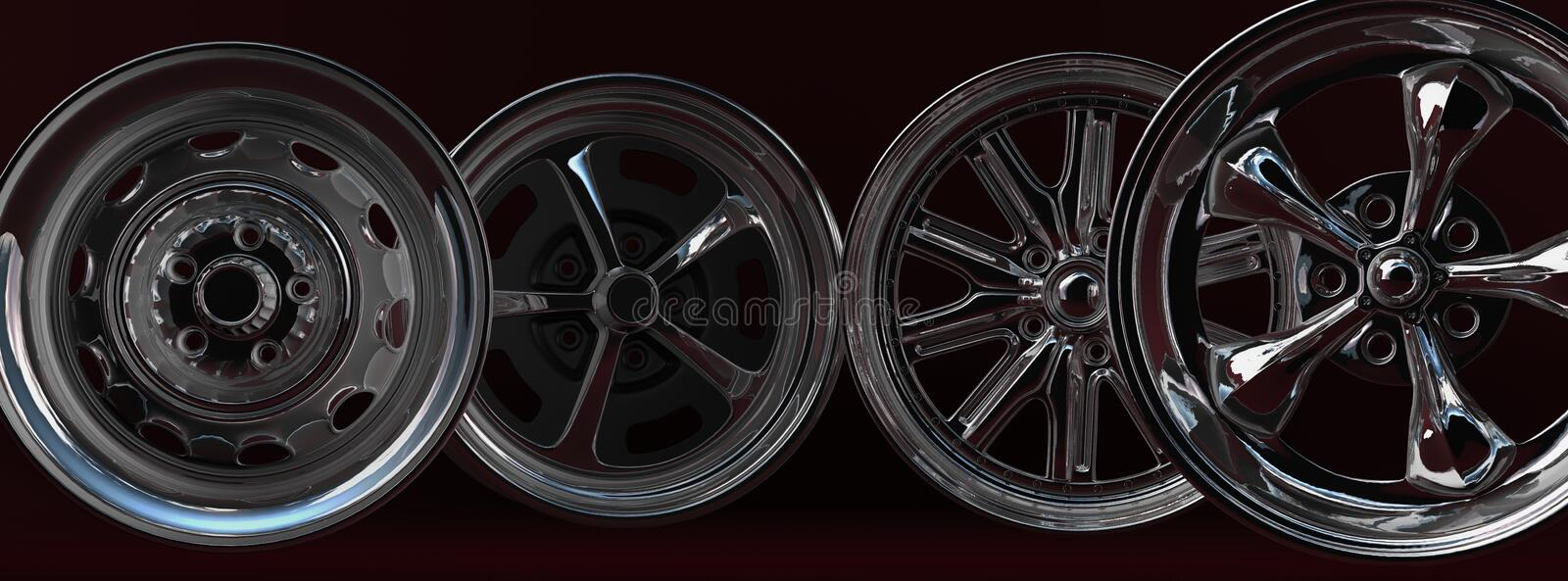 Car rims. Steel car rims on the dark red background royalty free illustration