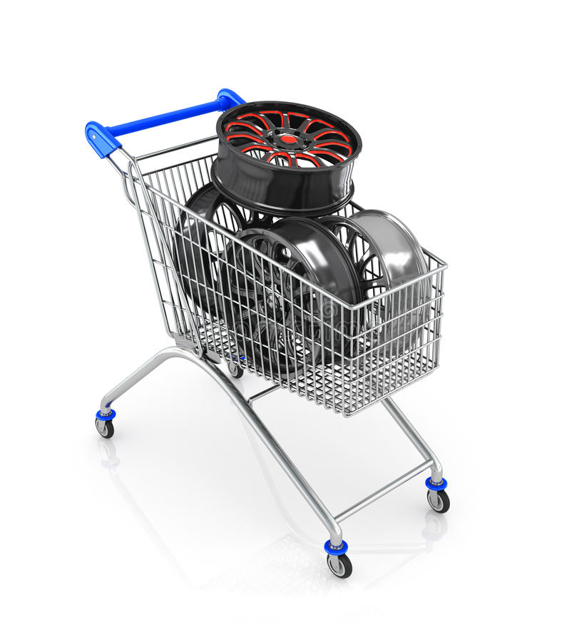 The car rims in shopping cart,. Isolated on white background royalty free illustration