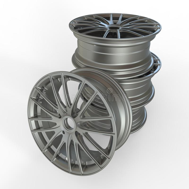 Car Rims. Three dimensional rendering car rims on white royalty free illustration