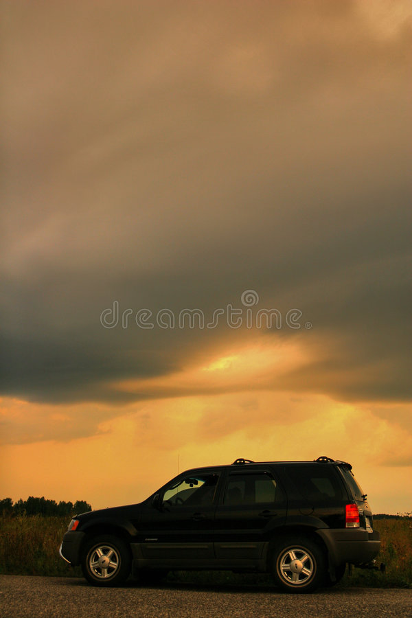 Download Car on the road stock image. Image of storm, yellow, field - 4229025