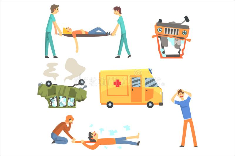 Car Road Accident Resulting In People Health Damage And Ambulance Helping The Victims Set Of Stylized Cartoon. Illustrations. Doctors And Pedestrians On Car stock illustration