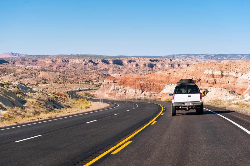 A car on the road in arizona royalty free stock photography