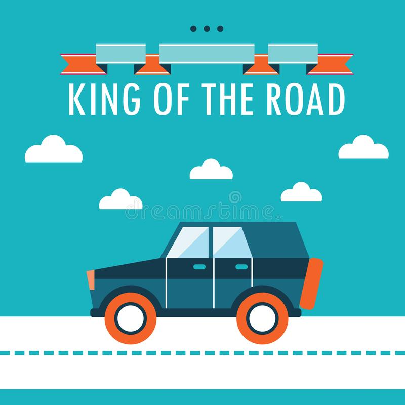 Car on the road. King of the road. Flat design background template vector illustration